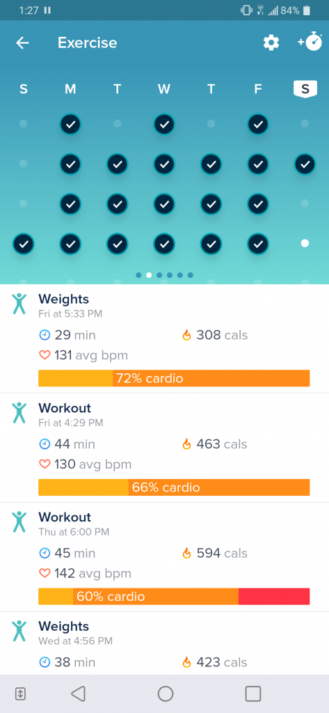 Screenshot of Michael's Fitbit activity log.